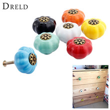DRELD Pumpkin Furniture Handle Ceramic Door Knob Cupboard Drawer Cabinet Knob and Handles Kitchen Pull Handle Furniture Hardware цена