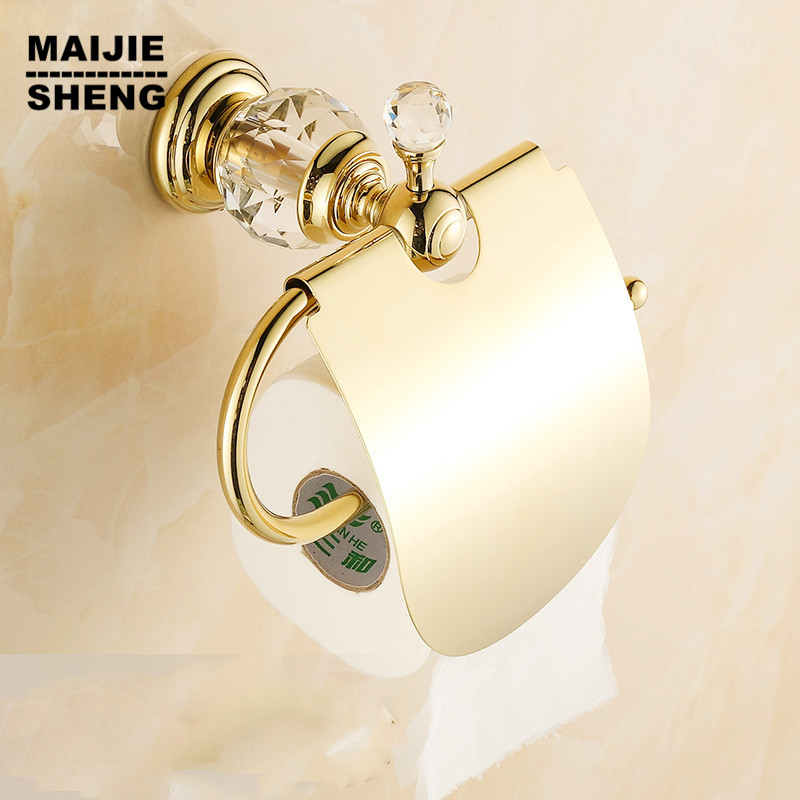 Luxury crystal brass gold paper box roll holder toilet gold paper holder tissue box Bathroom Accessories bath hardware luxury brass gold toilet paper box roll holder bathroom accessories bath hardware crystal metal paper holder