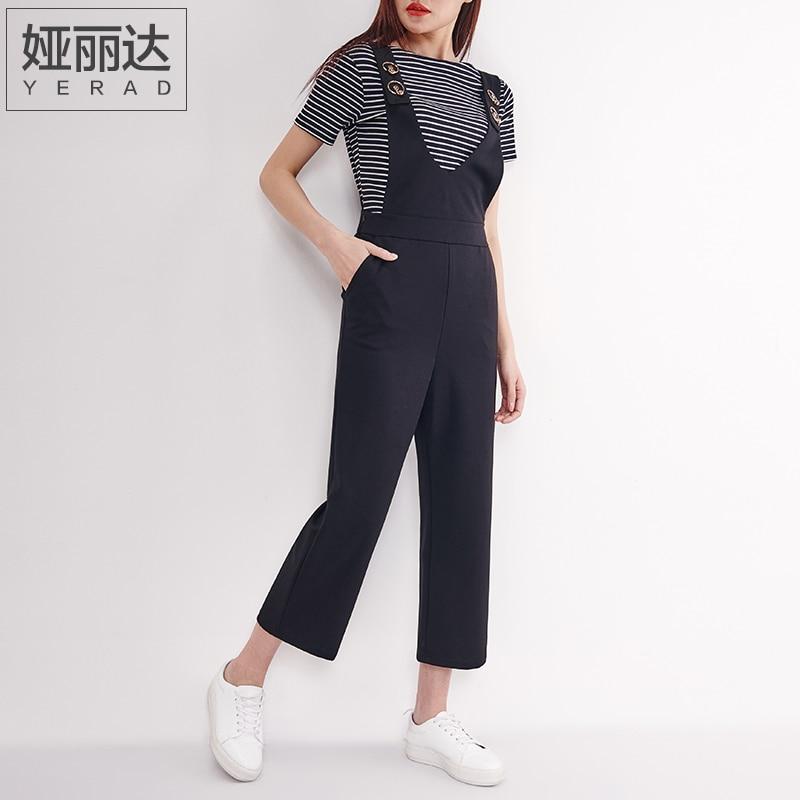 09d06405f84e YERAD Women s High Waist Overalls Loose Ankle Length Wide Leg Pants Black  Suit Pants Femme Jumpsuit Rompers