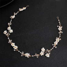купить Elegant Handmade Floral Simulated-Pearl Bride Headband Hair Accessories For Women Wedding Headpieces дешево