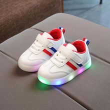 fashion children's LED shoes spring autumn soft sole glowing sneakers for boys and girls casual baby toddlers shoes for 1-6Years(China)
