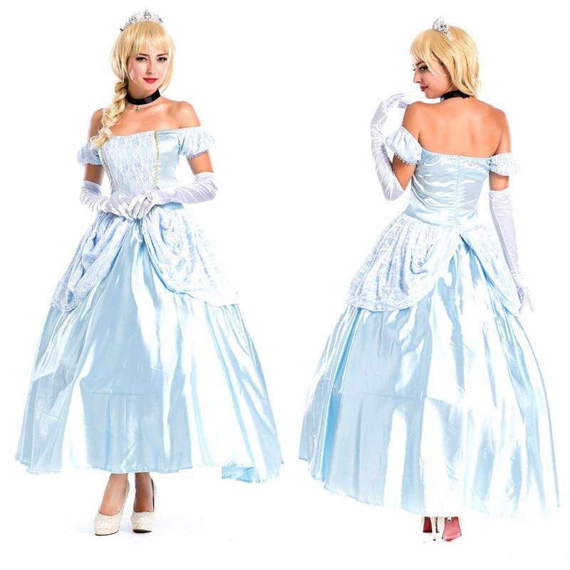 Erwachsene Cinderella Kleid Frauen Prinzessin Phantasie Kleid Kleid Mädchen Party Kleid Halloween Cosplay Kostüm-in Kleider aus Damenbekleidung bei  Gruppe 1