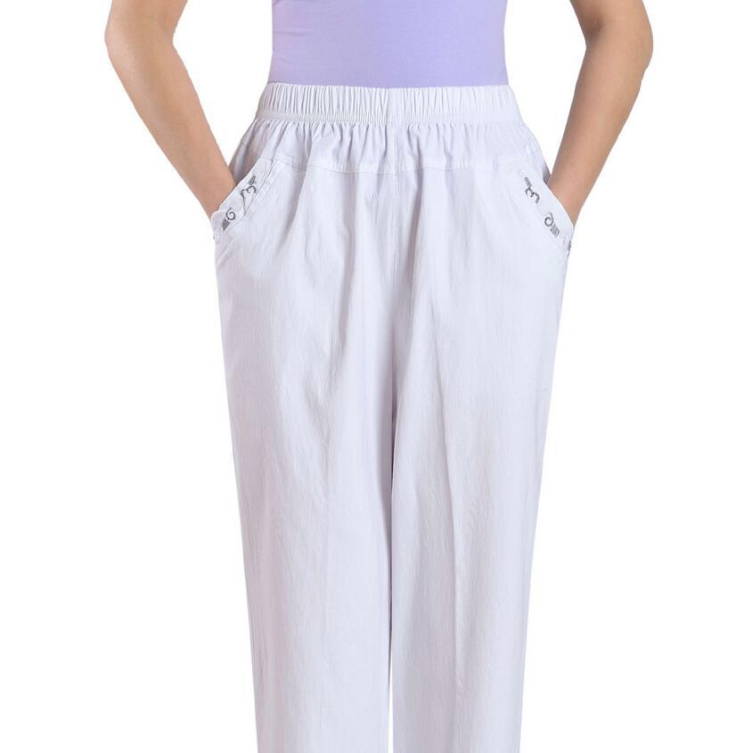 2018 new spring summer Women's   Pants   Plus Size Elastic Waist Straight   Pants   Women   Capris   a259