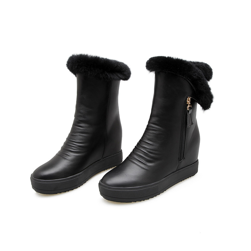 2019 D'hiver Cheville Femmes Chaud blanc Femme forme Blanc Neige Morazora Rond Confortables Bout Bottes Coins Zip Plate Chaussures Noir Tl1JFKc3