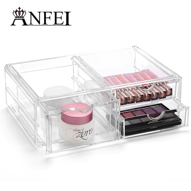 WEIAI Acrylic Makeup Organizer Jewelry Display Box Bathroom Storage With 3  Drawer Make Up Brush Holder