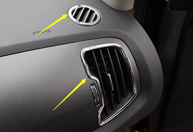 6pcs Car Chrome Steering Wheel Air Vent Cover Trim Kit Left Hand Driver For Kia Sportage R 2011 2012 2013 2014 2015