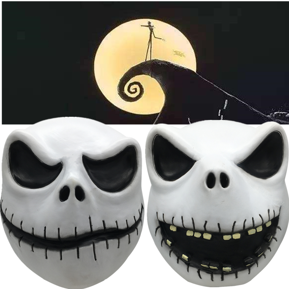 The Nightmare Before Christmas Jack Skellington Full Head Mask Cosplay Halloween Latex Masks