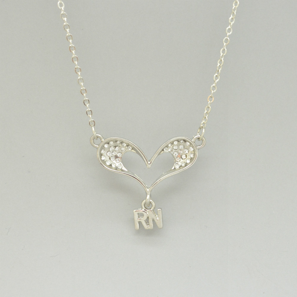 Free shipping czech crystals heart with letters rn pendant free shipping czech crystals heart with letters rn pendant necklace for registered nurse rn in pendants from jewelry accessories on aliexpress altavistaventures Images