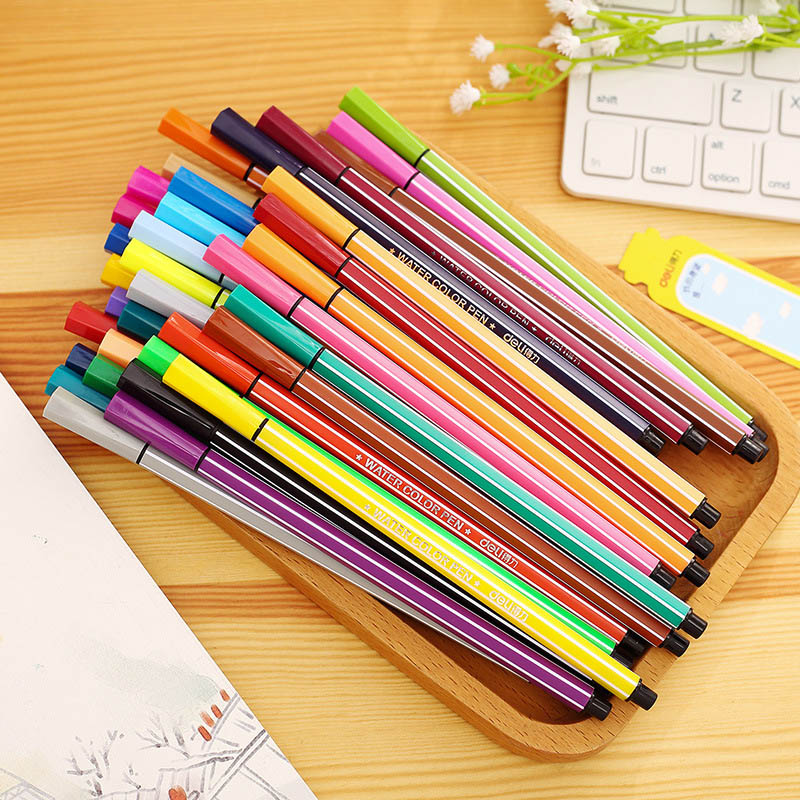 цена Deli Novelty Washable Watercolor Pen 12/18/24/36/ Colors Lucky Bottle Set For Student Art Marker Drawing Supplies Kids Gifts