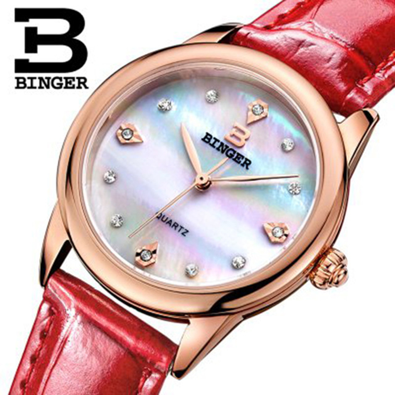Genuine Luxury BINGER Women leather strap sapphire quartz watch female fashion waterproof rhinestones free shipping цена