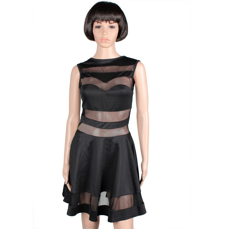 bd23e18f98 High Quality Elegant Vintage Black mesh Insert Skater Dress Sexy Peplum  Dress New Fashion Summer Dress Women Casual Dress -in Dresses from Women s  Clothing ...