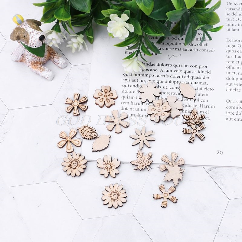 100pcs Laser Cut Wood Plum blossom Embellishment Wooden Craft Wedding Decor HOT