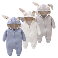 Cute 2017 Animal Jumpsuits With Ear Baby Girl Clothes Soft Cotton Baby Boy Rompers New Born