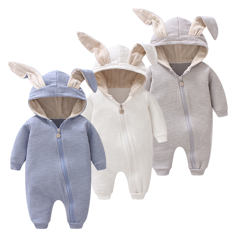 Cute 2017 animal jumpsuits with ear baby girl clothes soft cotton Baby Boy Rompers New Born Baby Clothes romper infant 0-12M cute animal infant baby girl boy clothes halloween christmas photography costume novelty jumpsuits overalls romper hat shoes