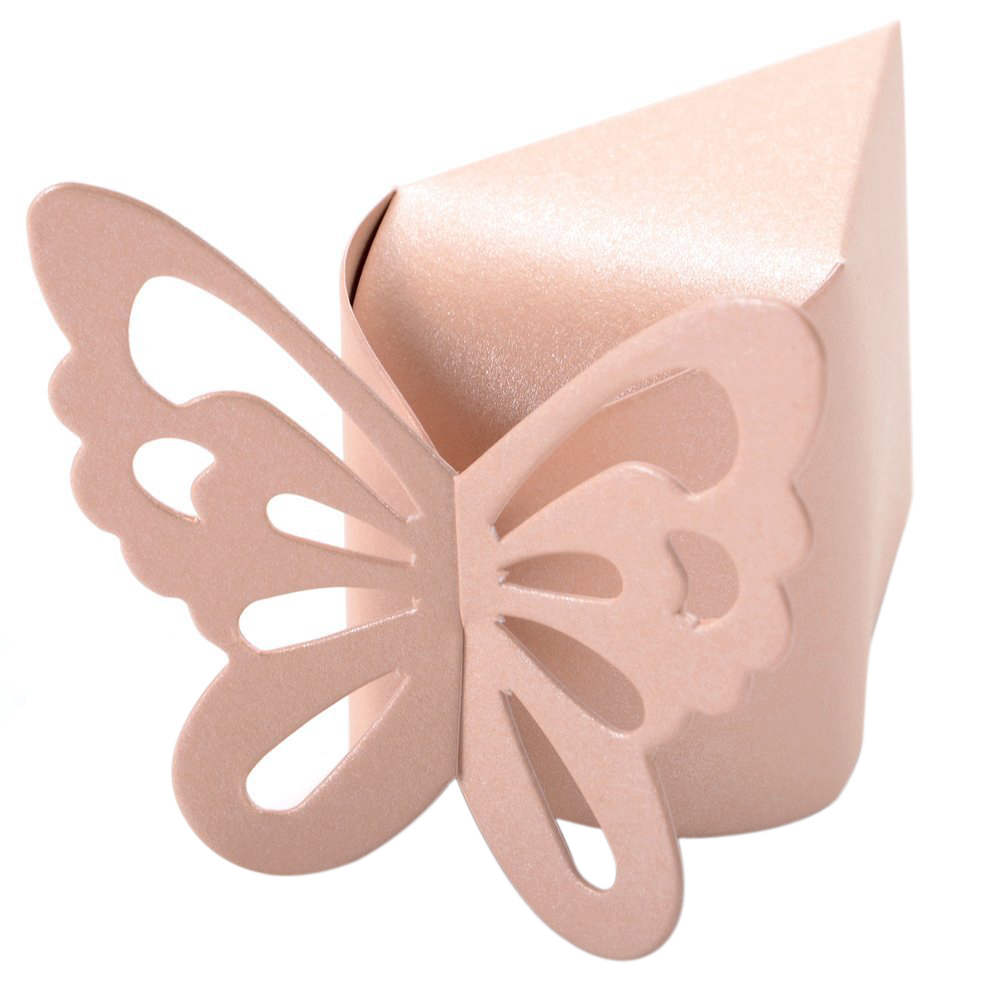 50 Pcs Butterfly Favor Gift Candy Boxes Cake Style for Wedding Party Baby Shower (Pink)