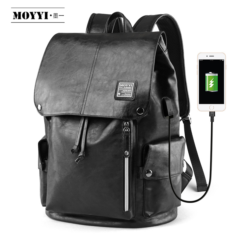 MOYYI Men Backpack External USB Charge Waterproof Backpack Fashion PU Leather Travel Bag Casual School Leather Bookbags