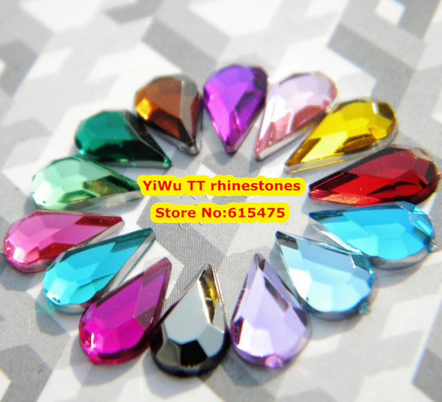 5,000 pçs/saco 6*10mm Apartamento de Volta Forma de Gota de Lágrima Strass Acrílico, Plástico Acrílico Da Arte Do Prego 3D/vestuário/Jóia Strass
