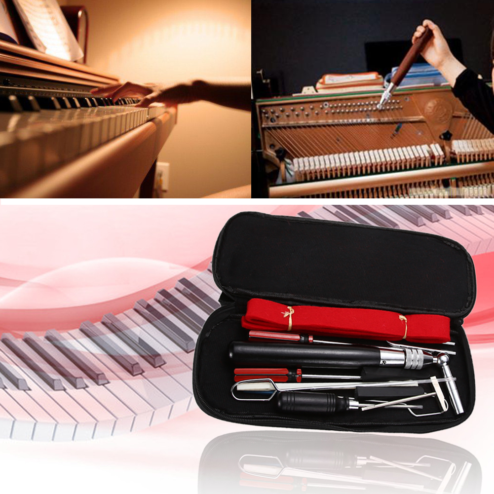 Professional 13 in 1 Instrument Piano Tuning Tools Maintenance Tool Kit In a Case Hand Tools Easy Operate professional 13 in 1 piano tuning maintenance tuning tool kit with portable pu leather case easy operate