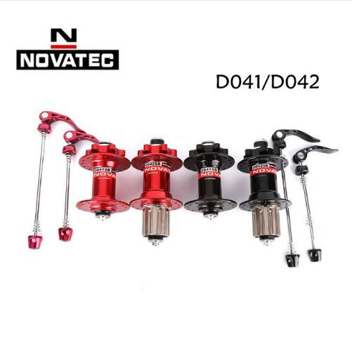Original Novatec D041SB D042SB disc card brake MTB mountain bike hub bearing bicycle hubs 28 32 36 Holes 28h 32h 36h red black novatec dh41sb dh61sb ah dh mtb mountain bike front hub bearing disc brake 32 36 holes 32h 36h bicycle hubs 20 20mm thru 110mm