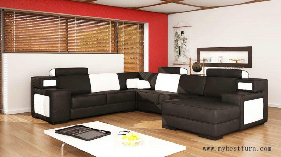 Livraison Gratuite Noir en cuir canapé, noir et blanc en cuir, moderne et classique canapé ensemble canapé ensemble S8662
