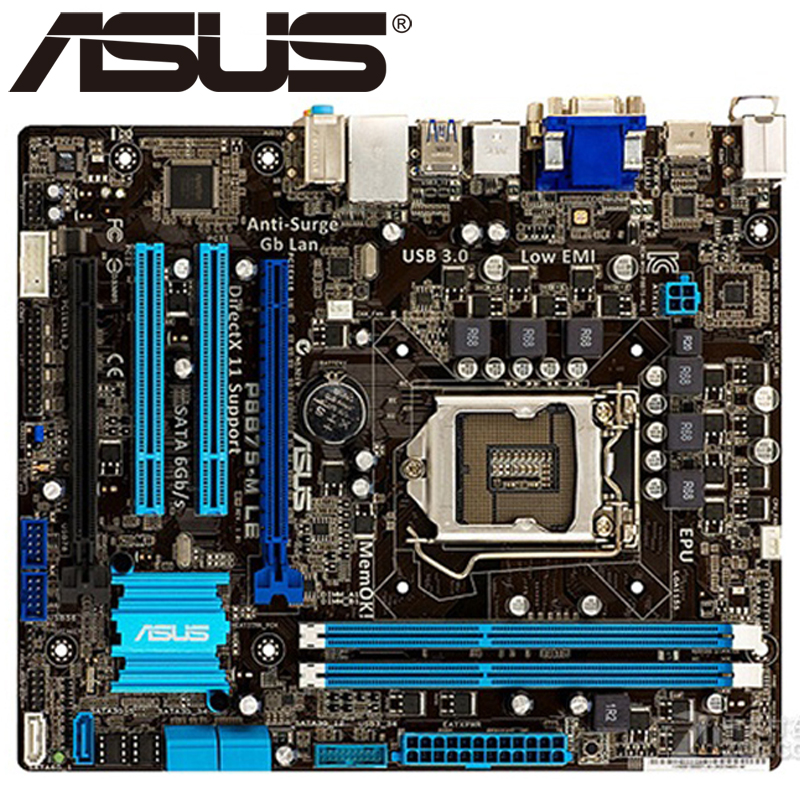 Asus P8B75-M LE Desktop Motherboard B75 Socket LGA 1155 i3 i5 i7 DDR3 16G uATX UEFI BIOS Original Used Mainboard On Sale original used desktop motherboard for asus m4a88t m a88 support socket am3 4 ddr3 support 16g 6 sata2 uatx