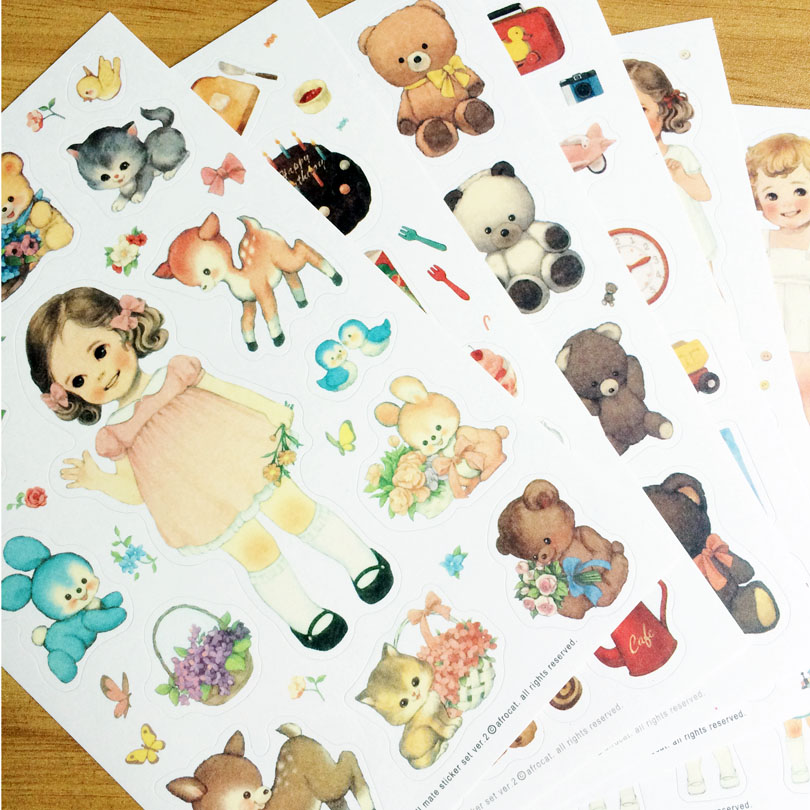 6sheets/pack Kawaii girl paper sticker Doll diary deco note sticker Decoration gift stationery Multifunction Papelaria GT002 tetiana tikhovska paper doll