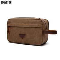 Men S Travel Cosmetic Bag High Quality Canvas Zipper Cosmetic Bag Portable Bath Detergent Bag Women