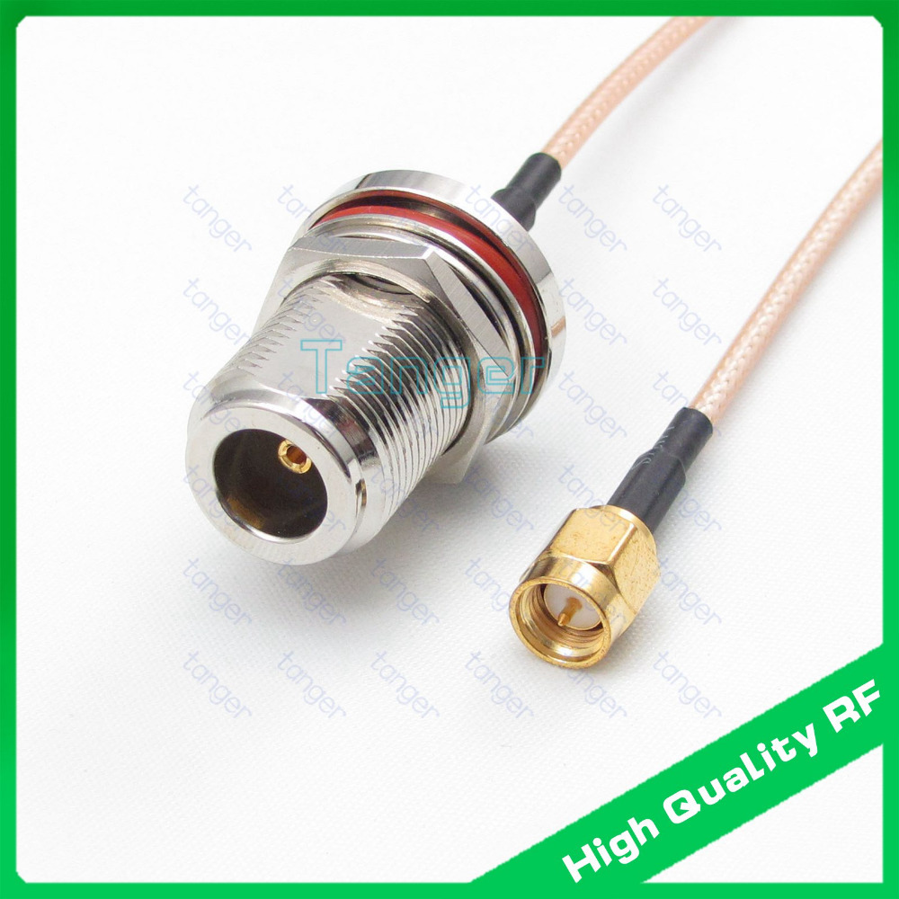 N type female jack waterproof with nut to SMA male plug RG316 RG-316 Coaxial Pigtail Jumper RF Low Loss cable 20inch 50cm extension cord n male to rp sma plug female pin rf connector coaxial adapter 50cm lmr400 pigtail jumper cable free shipping
