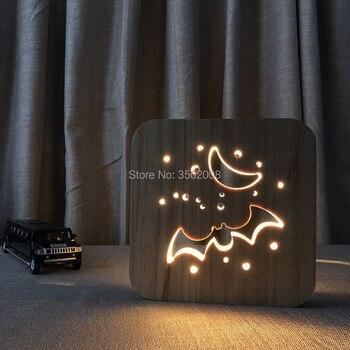 Ahşap gece lambası yarasa hollow out tasarım LED masa lambası yaratıcı hediye yetişkin çocuk yatak odası başucu lambası