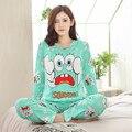 Listagem do novo 2017 Outono/Primavera Carton Pijamas Conjuntos de Pijama Da Menina Das Mulheres Dos Desenhos Animados Pijamas Pijamas para mulheres Long-Sleeved treino