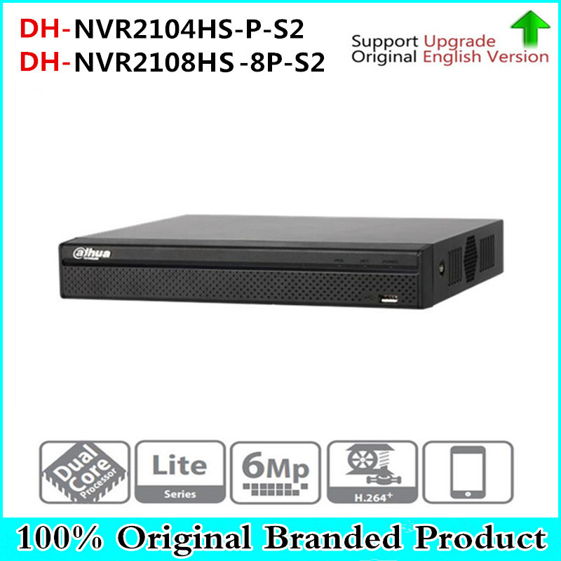 Original 6MP 4CH 8CH poe NVR NVR2104HS-P-S2 / NVR2108HS-8P-S2 up to 6Mp Recording Onvif Network video recorder ONVIF poe port