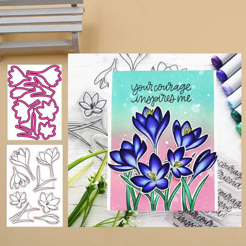 Crocus Flowers Clear Stamp and Metal Cutting Dies for DIY Die Scrapbooking photo album Card Making Decoration Supplies 2019
