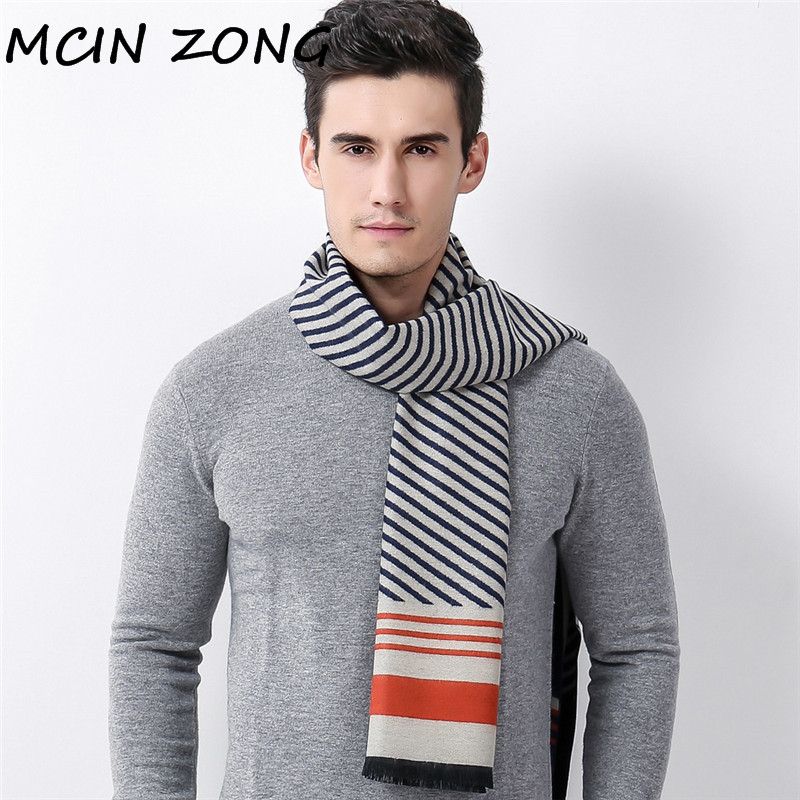 Men   Scarf   Winter Autumn Man   Scarves     Wrap   Shawl Thick Men's   Scarf   Striped Warm Cotton Cashmere Wool Blended Knit Brushed   Scarf