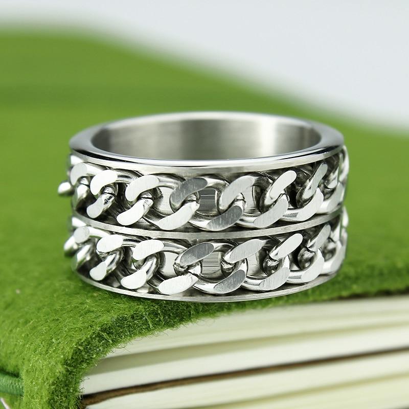 Gratis frakt Wide 12mm Titanium Steel Men Ring Dubbel Chain Ring - Märkessmycken - Foto 5