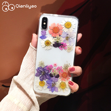 Qianliyao Real Dried Flower Phone Case For iPhone X XS Max XR Lovley Floral Back Cover 6 6S 7 8 Plus Coque Funda