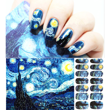 30 style Romantic Nail Wraps Stickers, Van Gogh Starry Night Designs, Waterproof Nail Arts Polish Gel Foils Keep 2-3 weeks