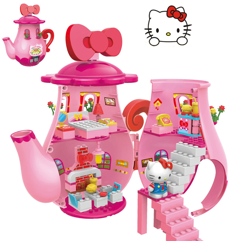Construction Toys For Girls : Plastic pink teapot for hello kitty building blocks