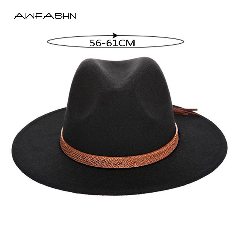 Cap Fedora-Caps Cowboy-Hats Classical-Sombrero Imitation-Wool Large-Size Winter 60CM