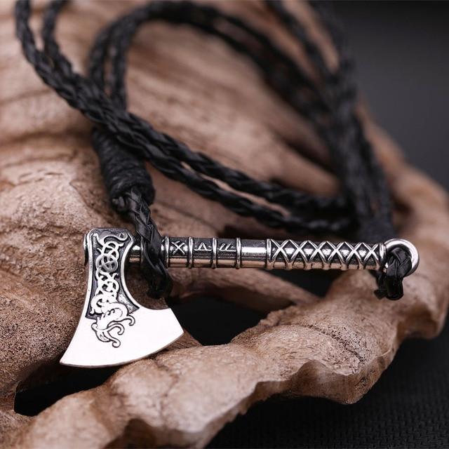 my shape 2018 New Dropshipping Viking Mammen Odin Symbol Rune Horror Slavic Peru Axe Amulet Talisman Mens Leather Bracelets 4