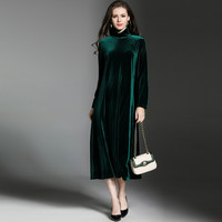 New 2019 Winter women long sleeve turtleneck maxi long Velvet dress,Plus size 5XL 6XL 7XL Autunm Evening Party Dresses Vestidos
