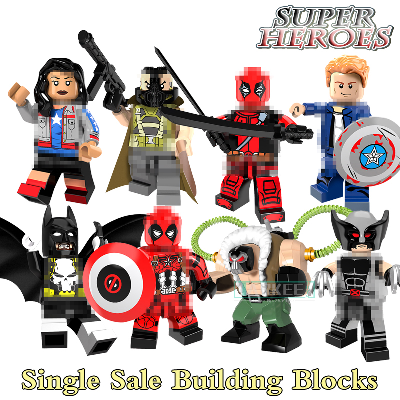 Building Blocks Bricks Big Bane Captain America Batman Deadpool Miss America Wolverine Super Heroes Figures Kids DIY Toys Gifts single sale super heroes thor spiderman captain america batman hawkeye bricks action building blocks toys for children xh 004