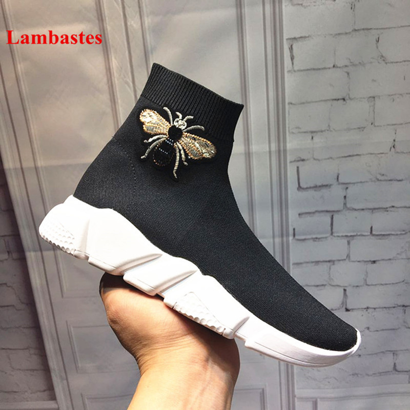 2018 Boots Shoes Women Black Bee Printed Turned-over Stretch Women Boots Ruffles Slip On Ankle Wedges Shoes Stivali Femminili buckle slip on wedges