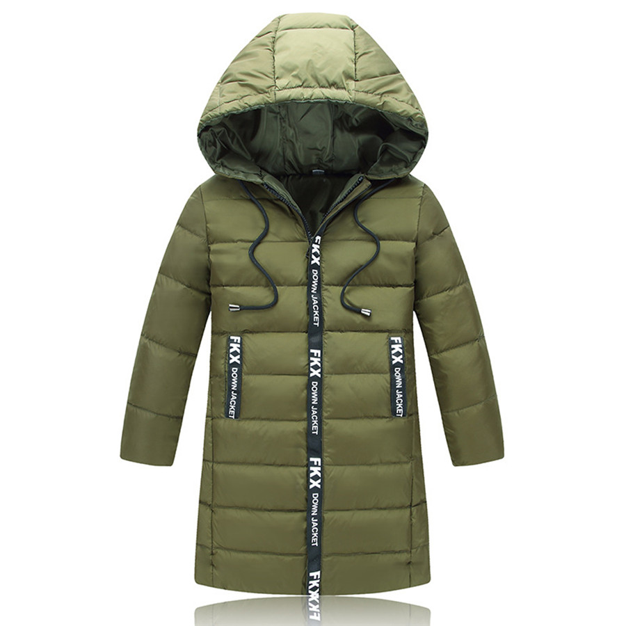Boys Coat Autumn Army Green Long Jacket Children European Print Letter Coat Kids Light White Duck Down Jackets For Boys Winter children s toy crossbow with infrared white army green