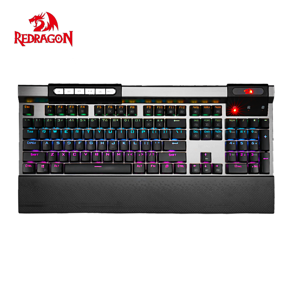 Redragon K563 SURYA RGB LED rétro-éclairé clavier mécanique 104 touches Anti-fantôme repose-poignet à bord commutateurs bleus pour ordinateur de bureau