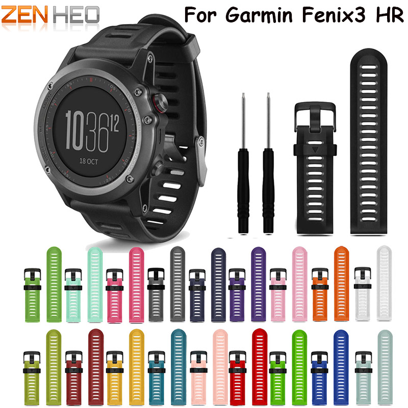 Colorful 26mm Width Outdoor Sport Silicone wrist Strap Watchband Replacement bracelte watch for Garmin Fenix 3 HR watch Band new stainless steel watch band 26mm for garmin fenix 3 hr butterfly clasp strap wrist loop belt bracelet silver spring bar