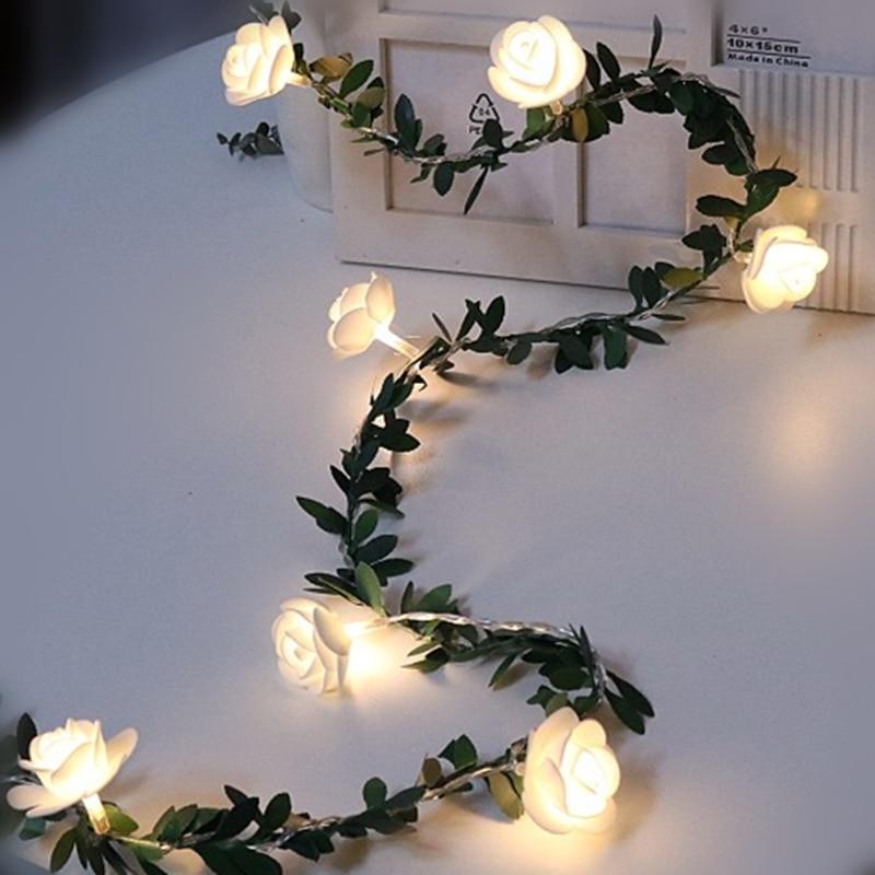 1.5m 3m 6m Rose Flower Vine String LED Lights Simulation Green Leaf Christmas Valentine's Day Wedding Decor Garland Luminaria