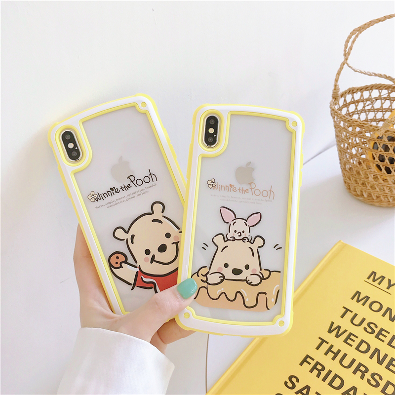 Cute Winnie Pooh soft phone case cover for iphone X XS MAX 7 8 6 6S plus silicone hard plastic Cartoon Anti-fall coque funda winnie the pooh iphone case