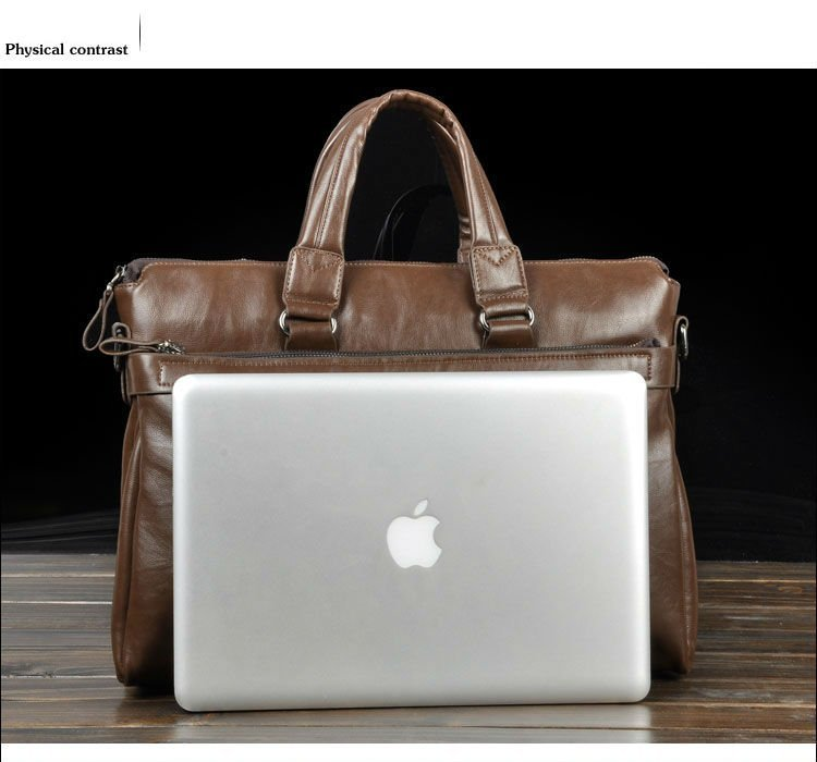Hot sale fashion genuine soft leather briefcase, leather laptop ...