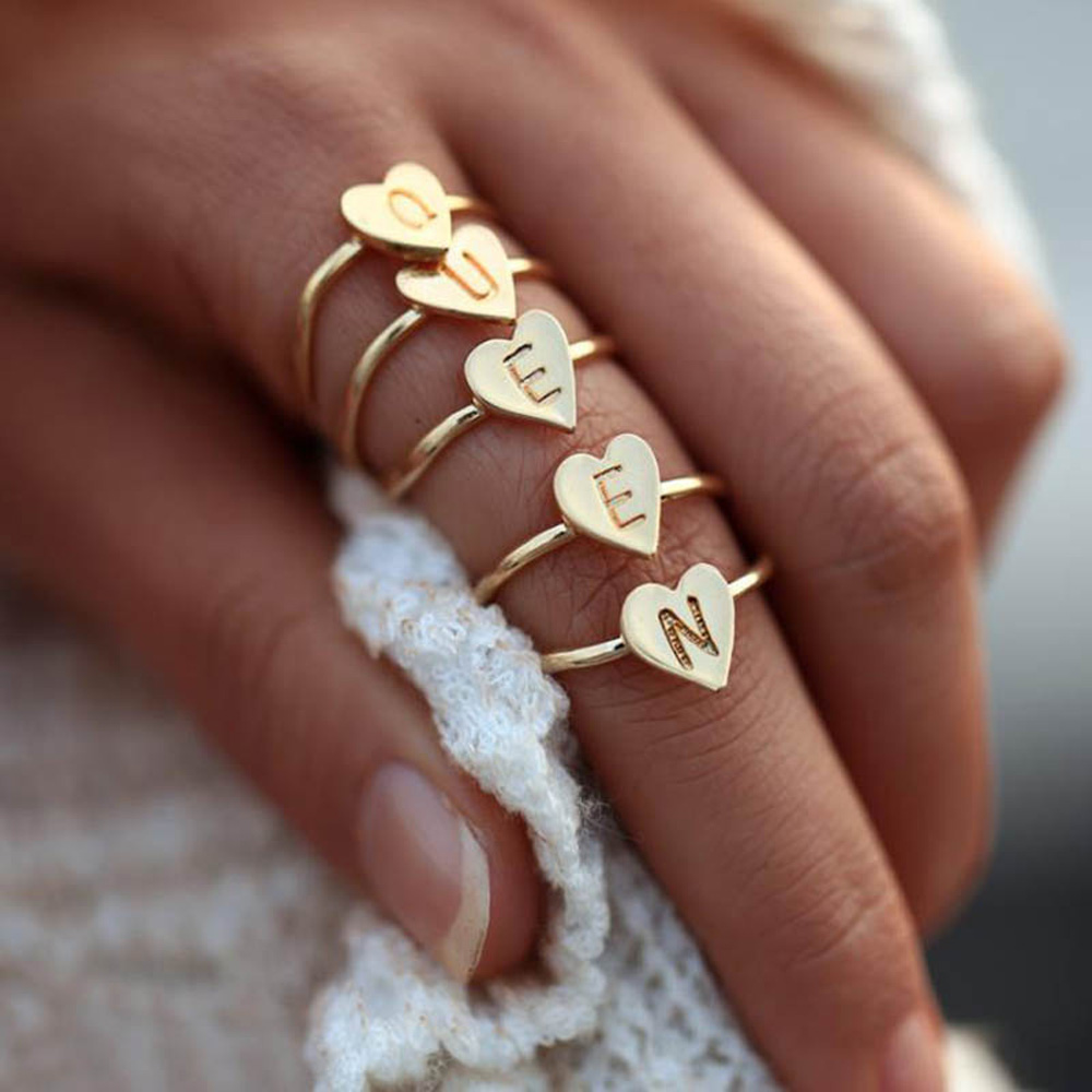 Adjustable Personalized Hand Stamped Stacking A-Z 26 Letters Initial Tiny Heart Rings for Women Gold Color Finger Rings Jewelry 5