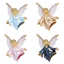 Rinhoo small angel rhinestone Brooch pin crystal wings pink Fairy Brooches  women party decoration jewelry( 1b04afdc989a
